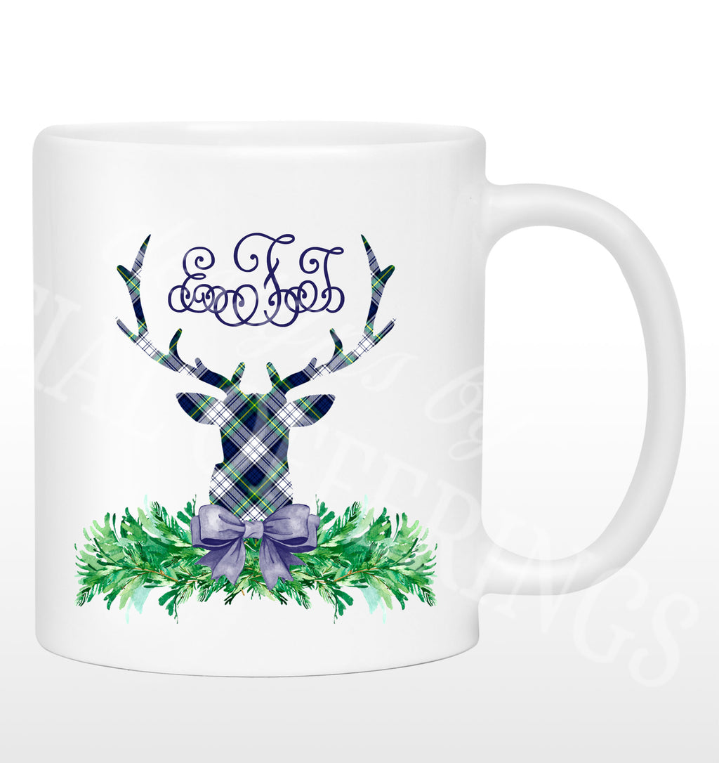 Dress Gordon Tartan Plaid Stag Head Swag Mug