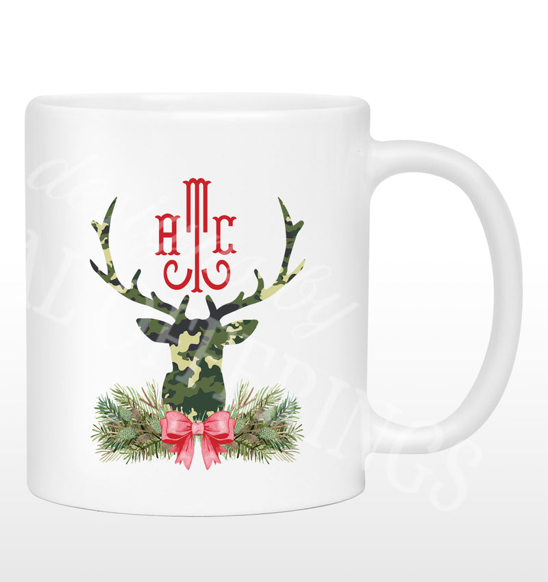 Green Camo Stag Head Swag Mug