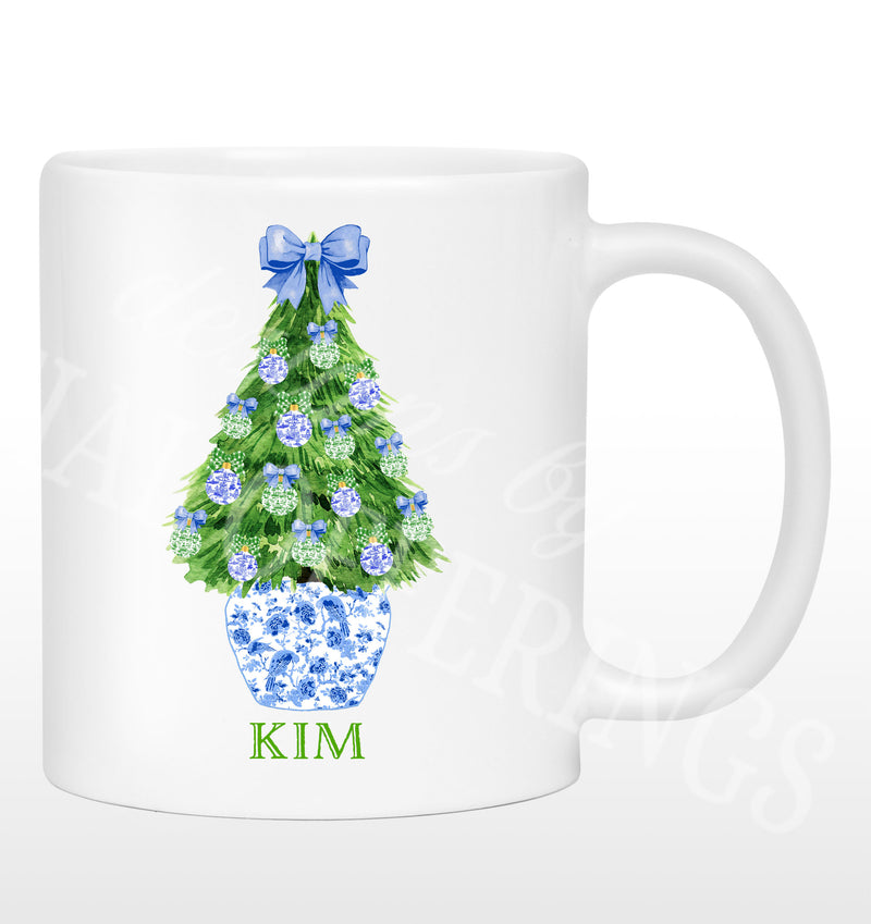 Blue and Green Christmas Tree Mug