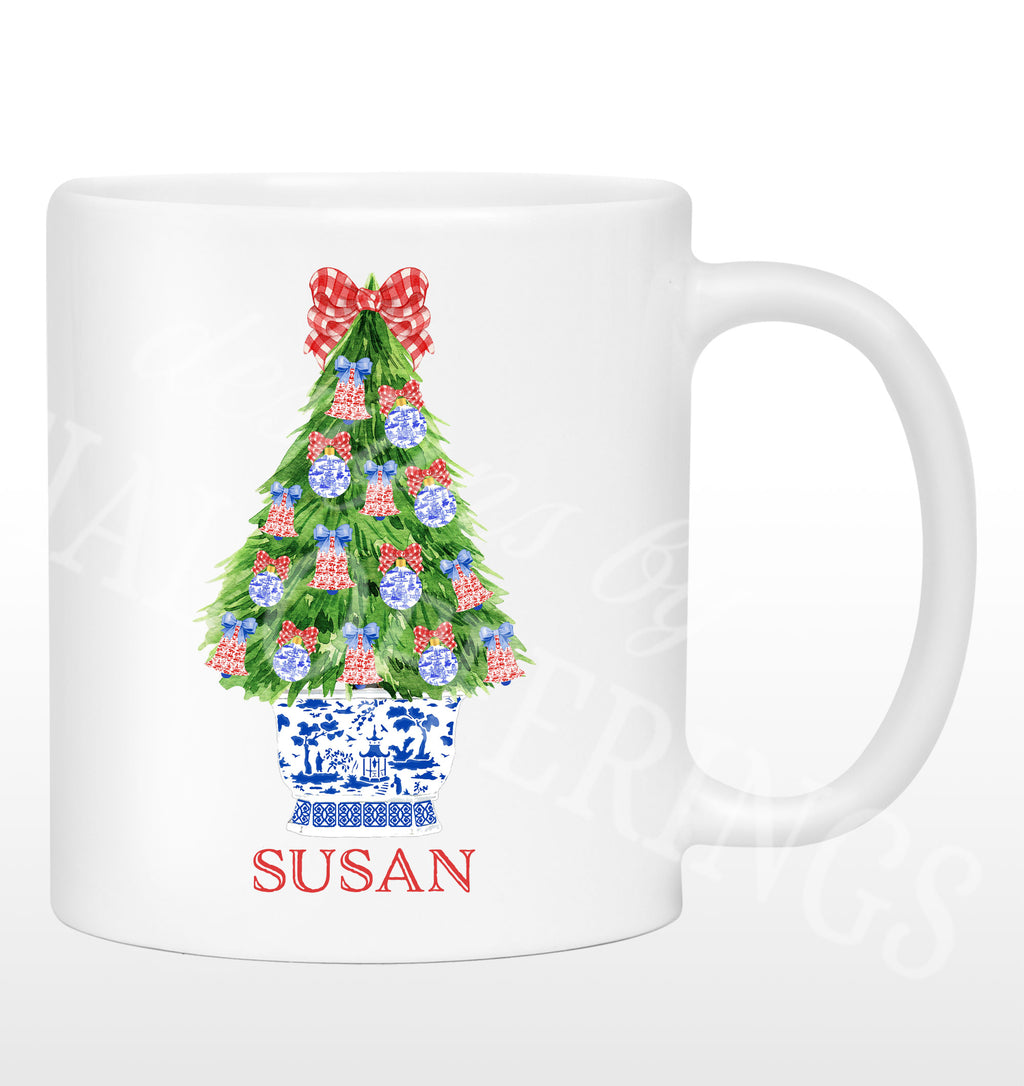 Red and Blue Christmas Tree Mug