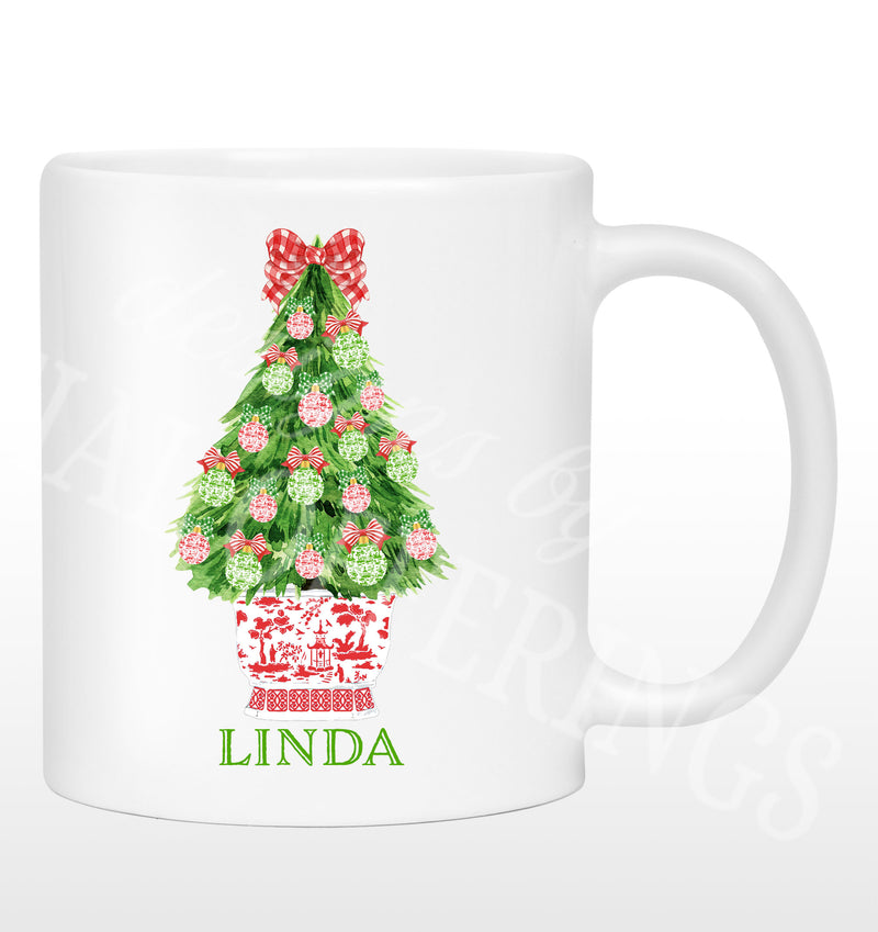 Red and Green Christmas Tree Mug