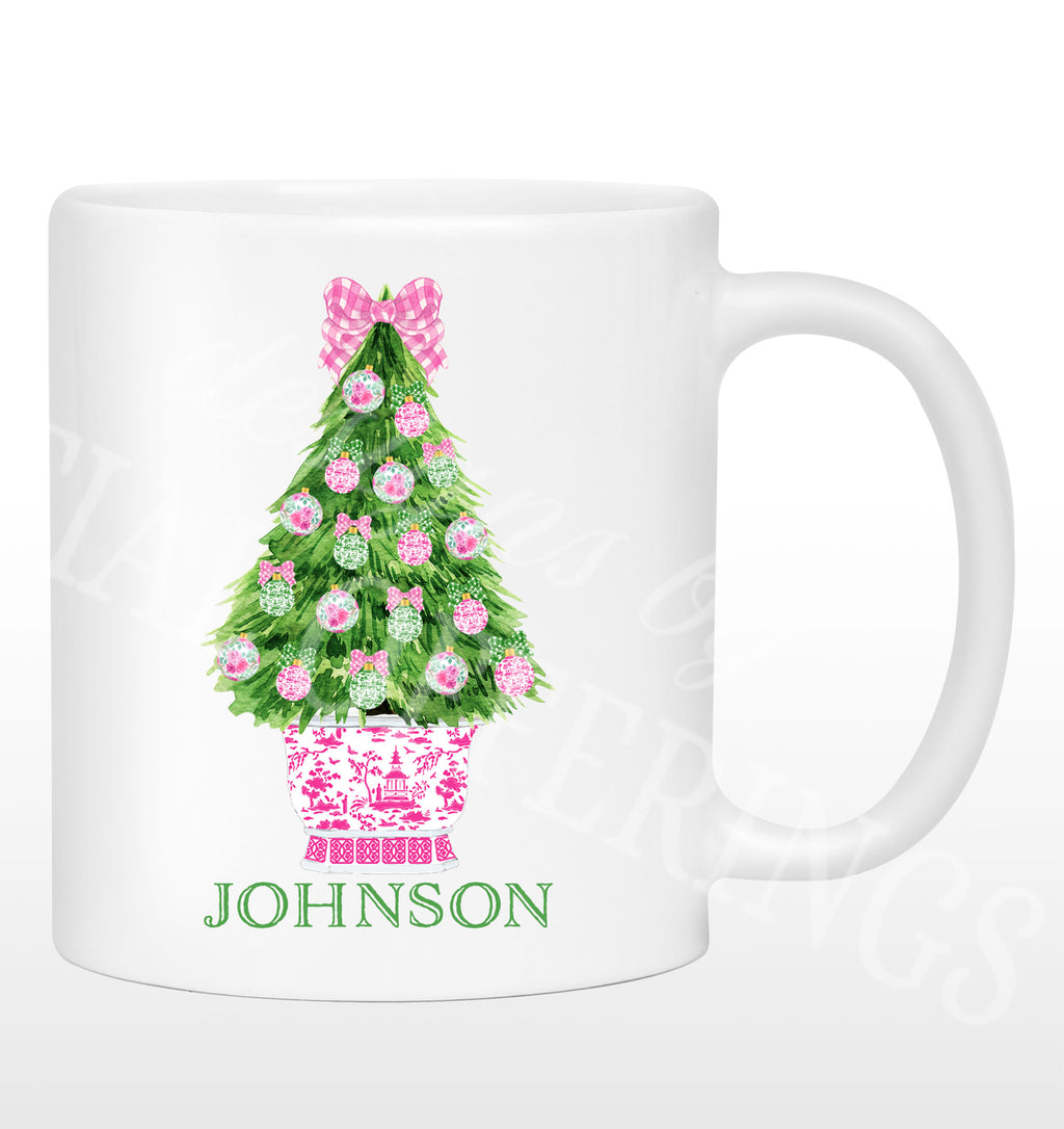 Pink and Green Christmas Tree Mug