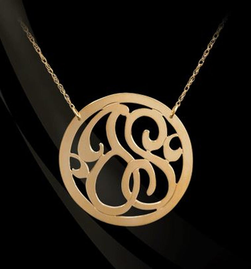 14K Gold or Sterling Silver 2-Initial Monogram Necklace
