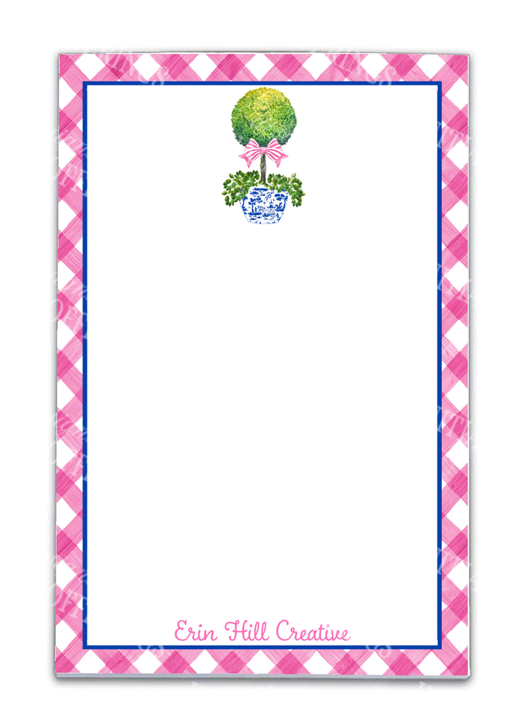 Topiary with Pink Bow Notepad