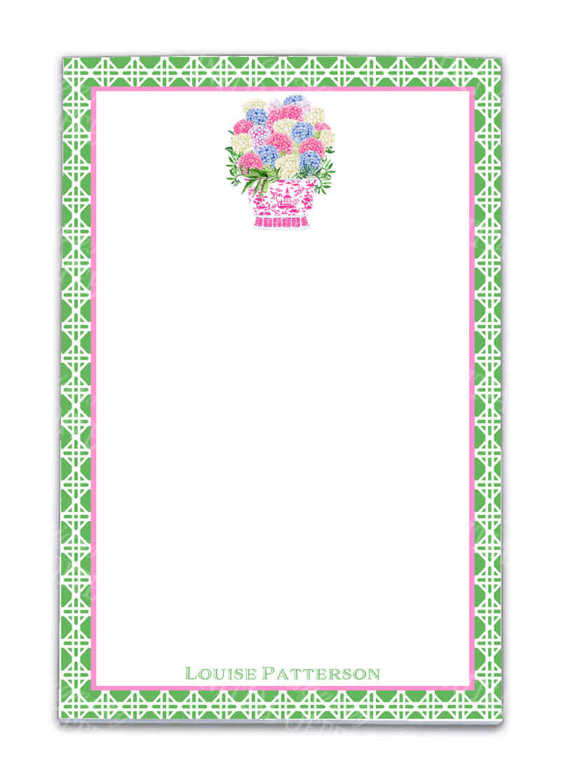 Bouquet Pink Blue Hydrangeas Notepad