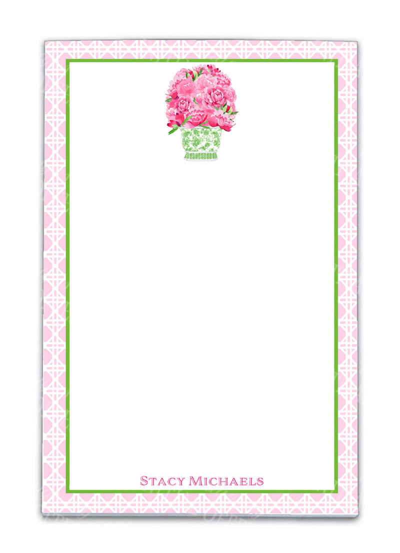 Bouquet Pink Peonies in Green Planter Notepad