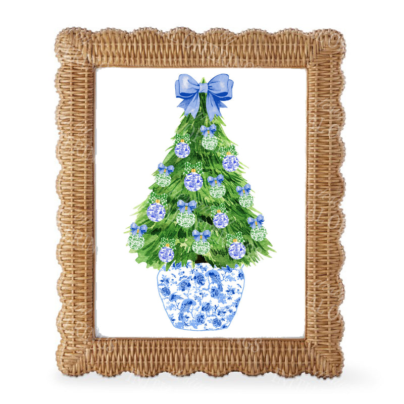 Blue and Green Christmas Tree Wall Art