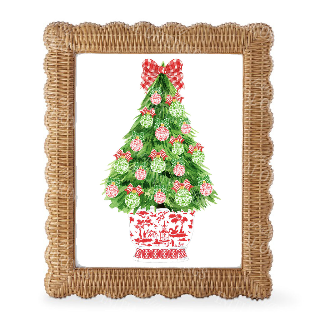 Red and Green Christmas Tree Wall Art