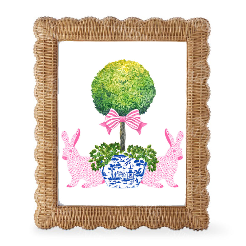 Bunnies with Topiary Wall Art