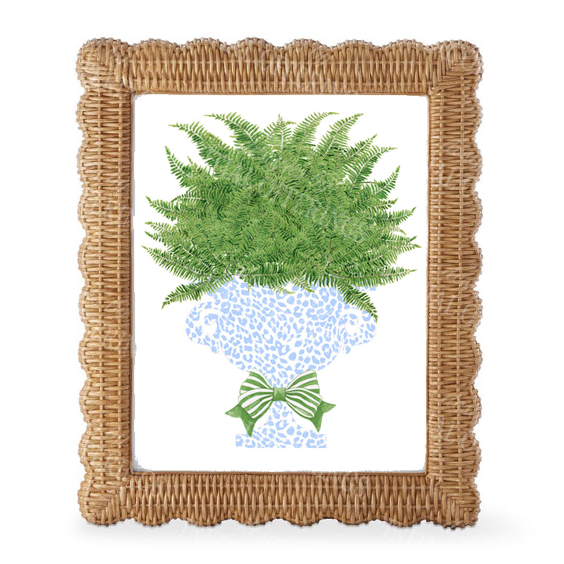 Fern in Light Blue Cheetah Urn Wall Art
