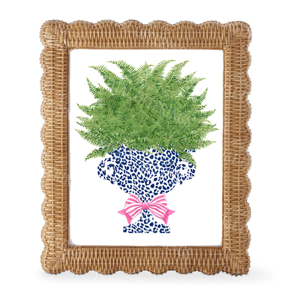 Fern in Navy Cheetah Urn Wall Art