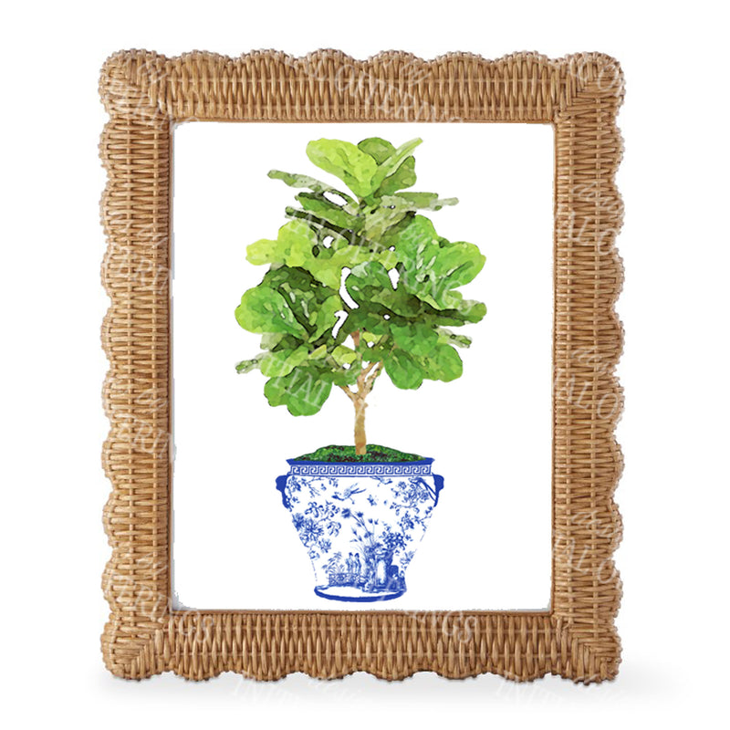 Fig Tree in Blue Planter Wall Art