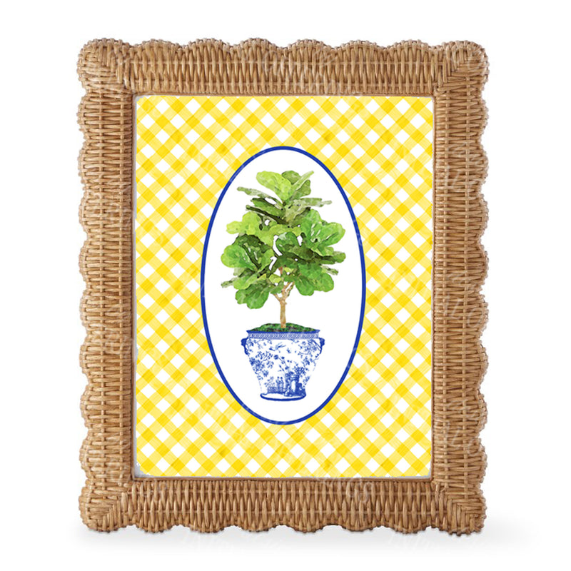 Fig Tree in Blue Planter Yellow Gingham Border Wall Art