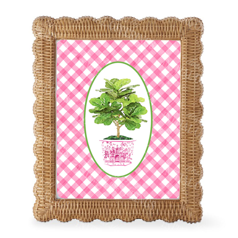 Fig Tree in Pink Planter Gingham Border Wall Art