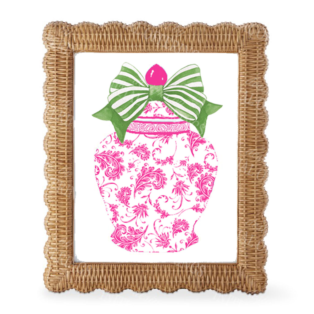 Ginger Jar Pink with Green Bow Wall Art