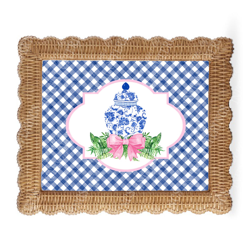 Ginger Jar Swag Blue Gingham Border Wall Art