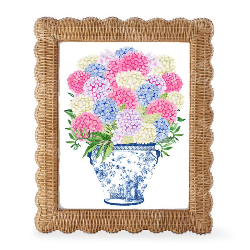 Bouquet Pink Blue Hydrangeas Wall Art