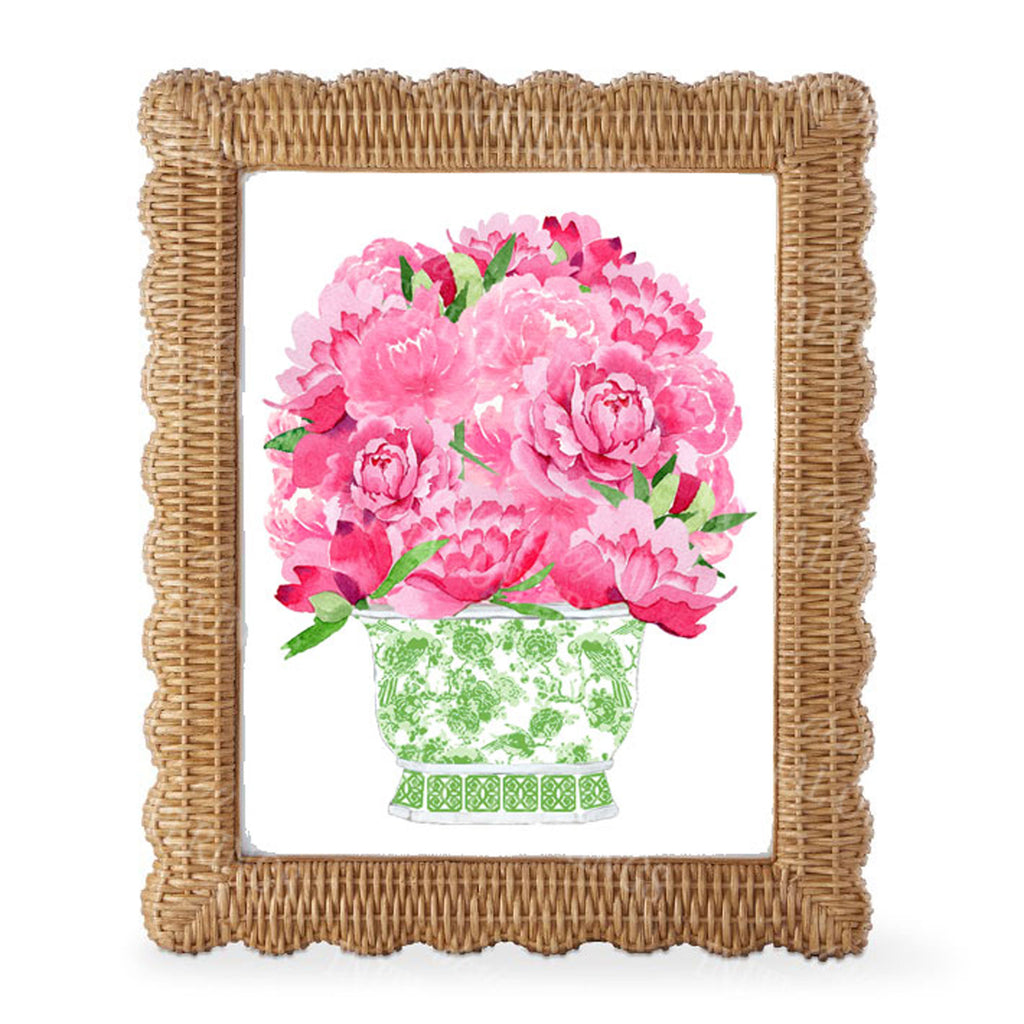 Bouquet Pink Peonies in Green Planter Wall Art