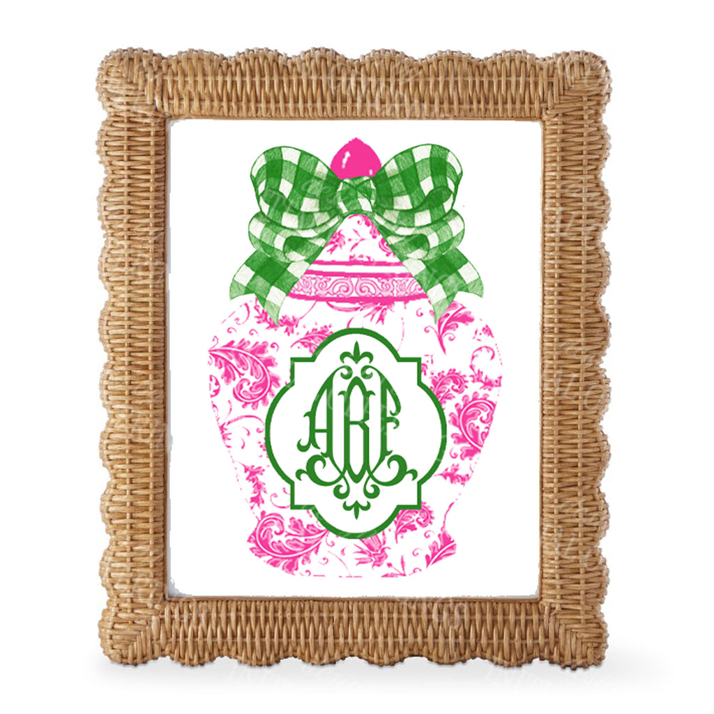 Ginger Jar Pink with Green Gingham Bow Monogram Wall Art