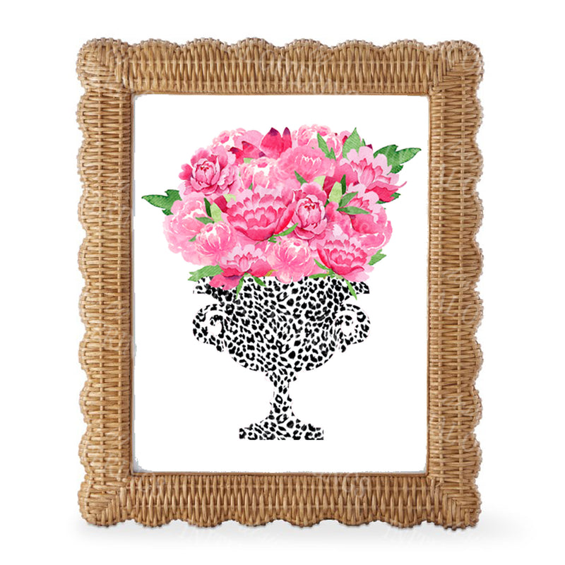 Bouquet Pink Peonies in Black Cheetah Planter Wall Art