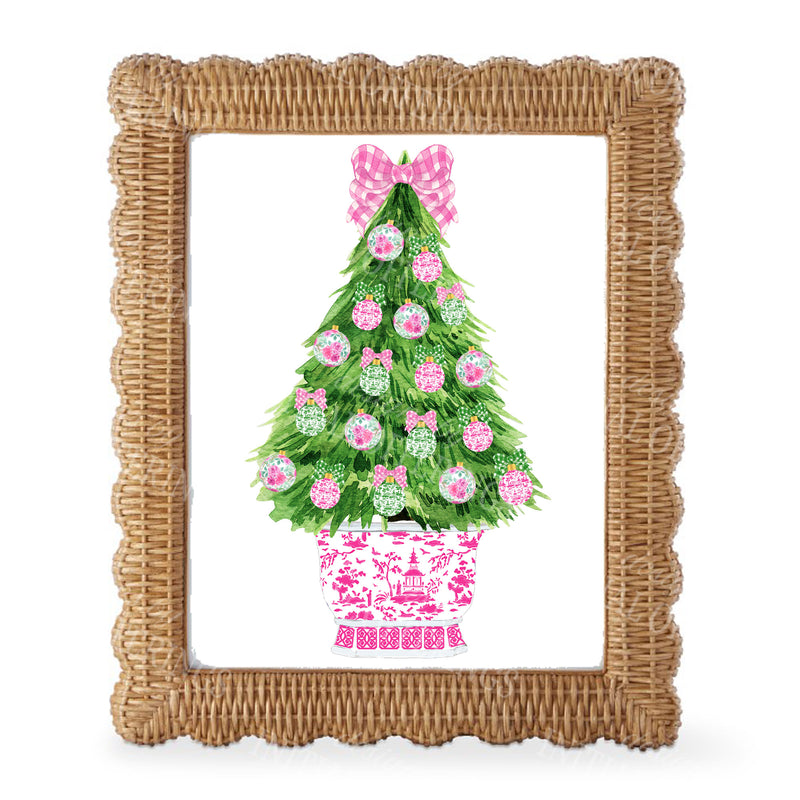 Pink and Green Christmas Tree Wall Art