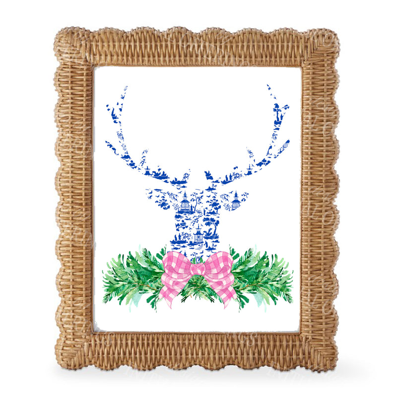 Pink and Blue Pagoda Toile Stag Head Swag Wall Art