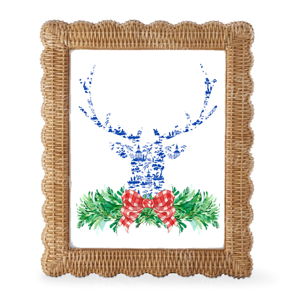 Red and Blue Pagoda Toile Stag Head Swag Wall Art
