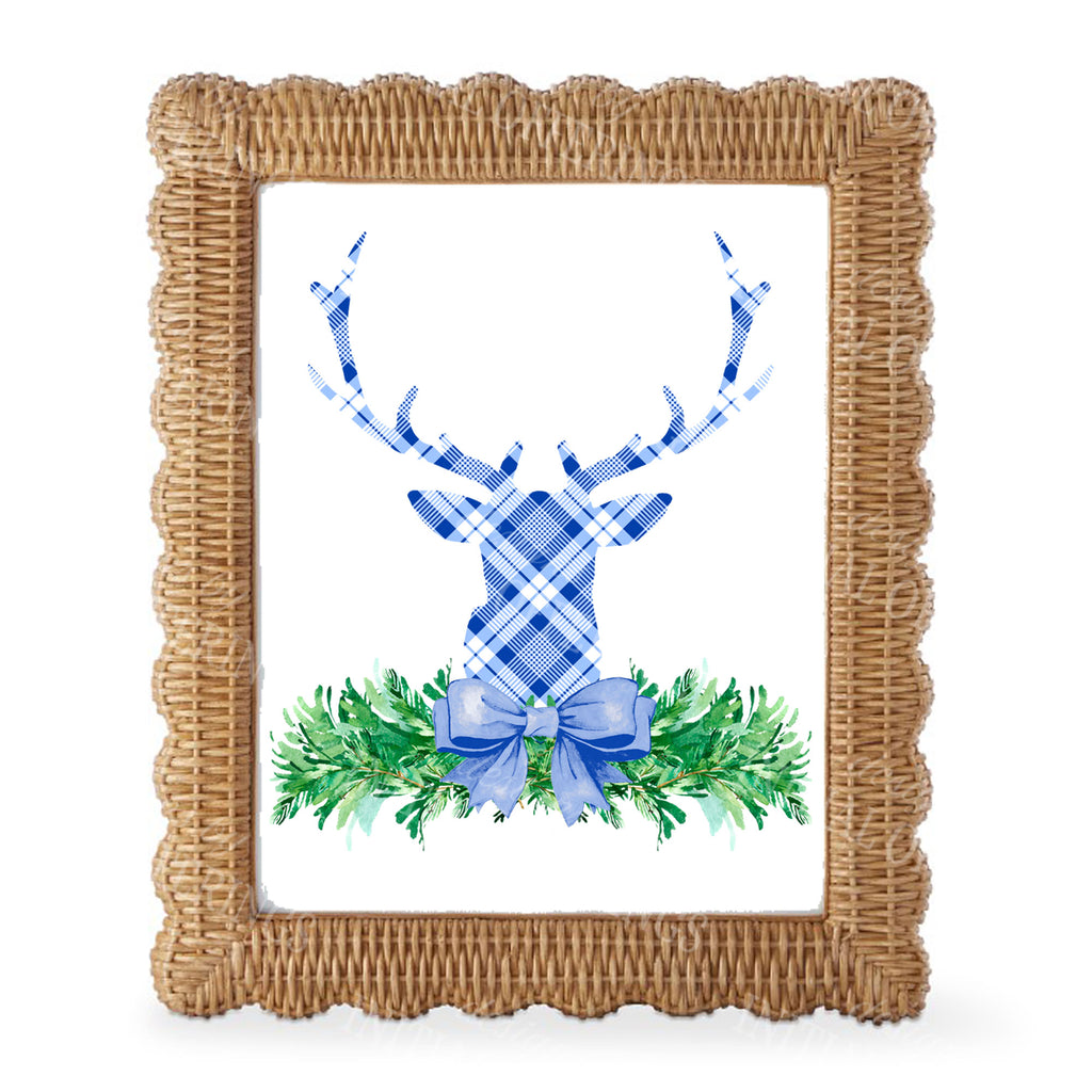 Blue and White Plaid Stag Head Swag Wall Art