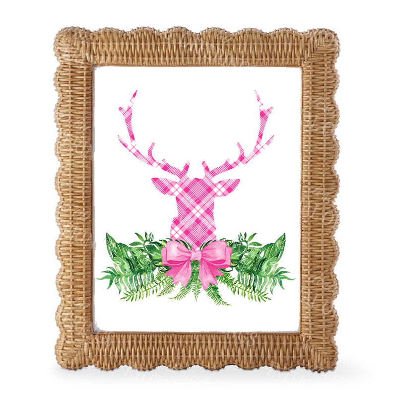 Pink and White Plaid Stag Head Swag Wall Art