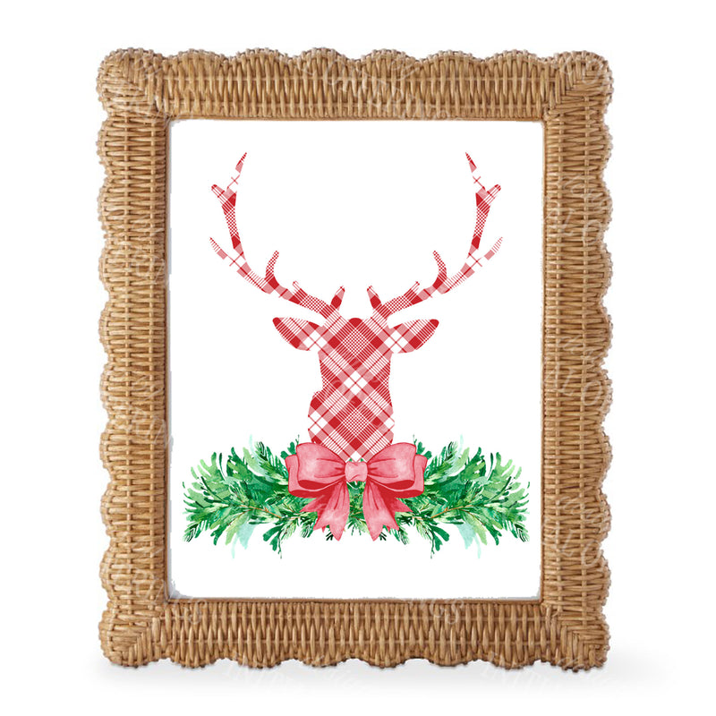 Red and White Plaid Stag Head Swag Wall Art