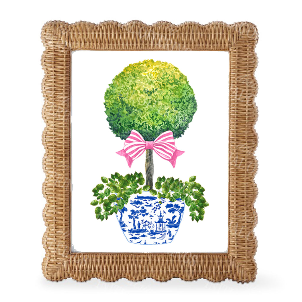 Topiary with Pink Bow Wall Art