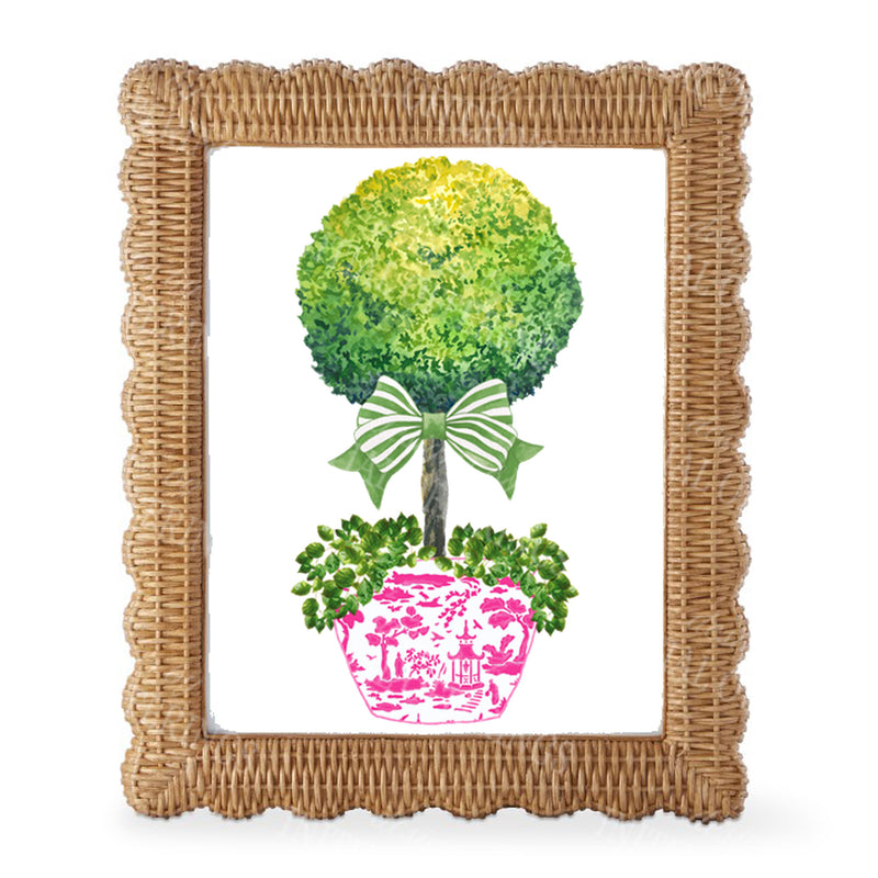 Topiary in Pink Planter with Green Bow Wall Art