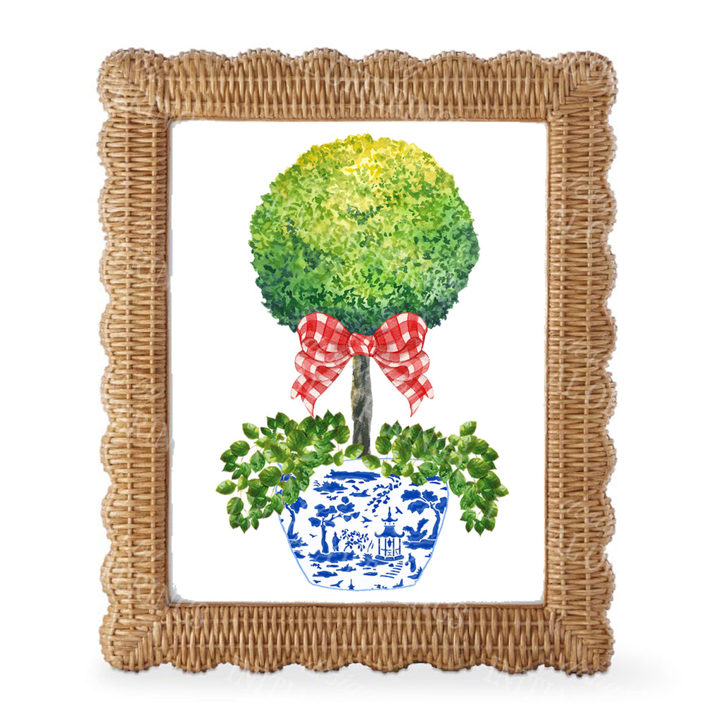 Topiary with Red Gingham Bow Wall Art