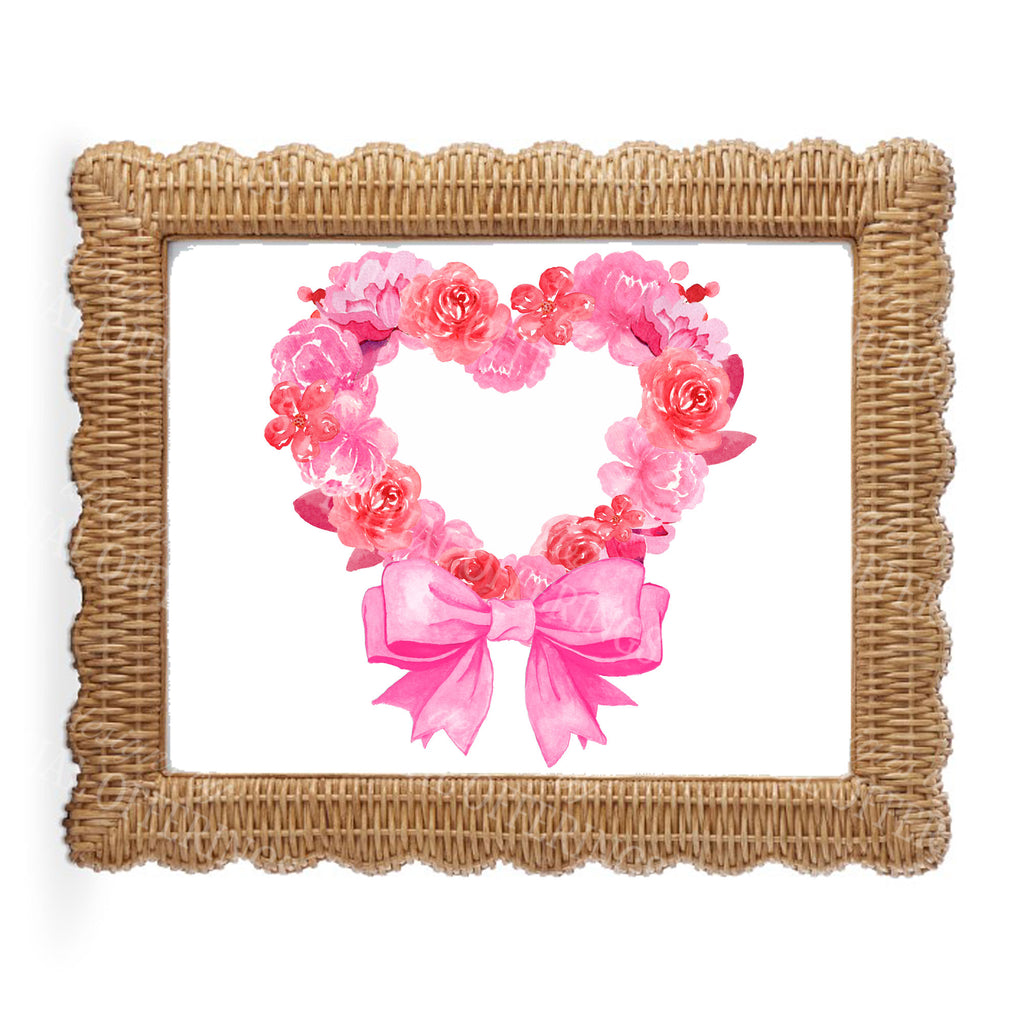 Pink Floral Heart Wall Art