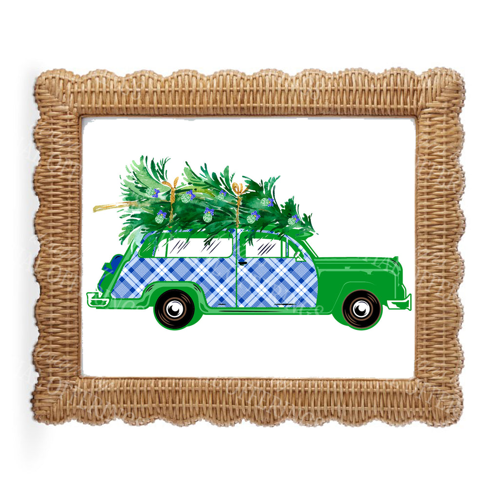 Blue and White Plaid Woody Wagon Wall Art