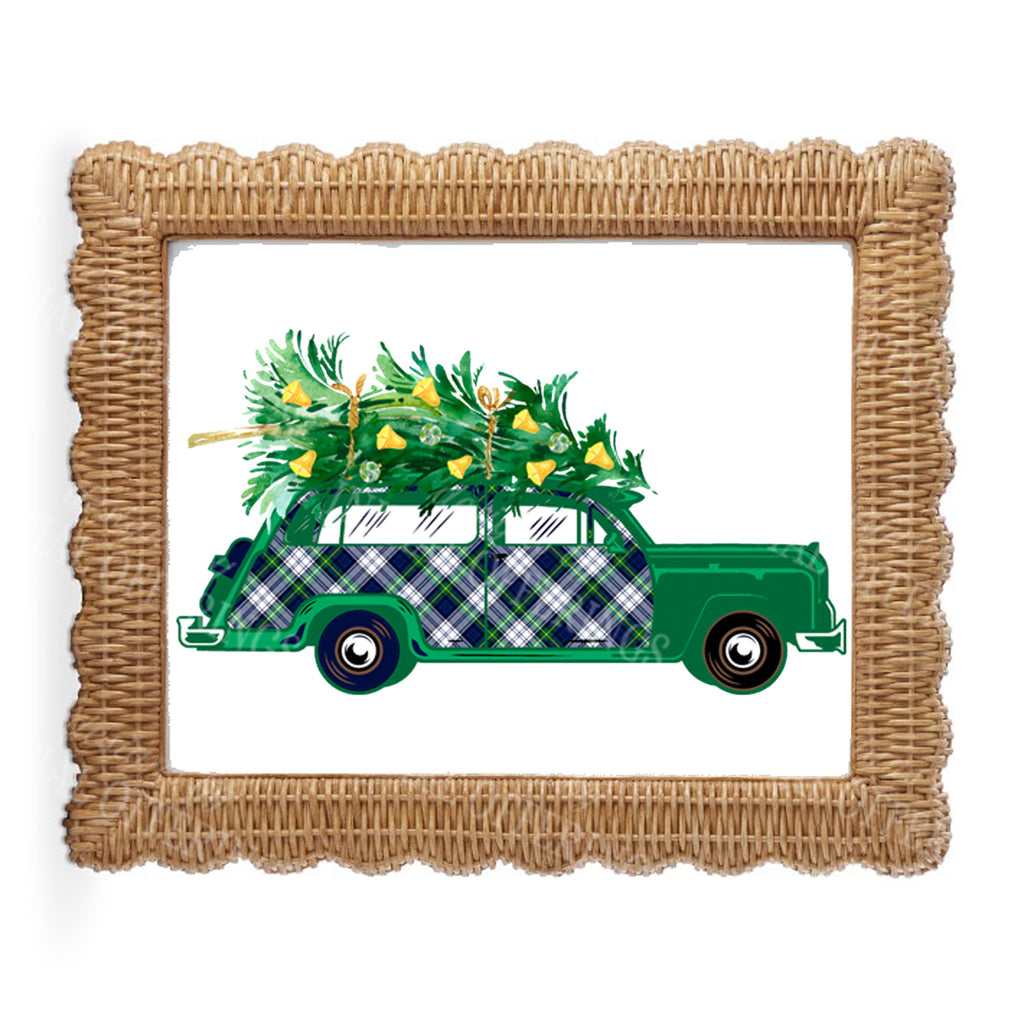Dress Gordon Tartan Plaid Woody Wagon Wall Art