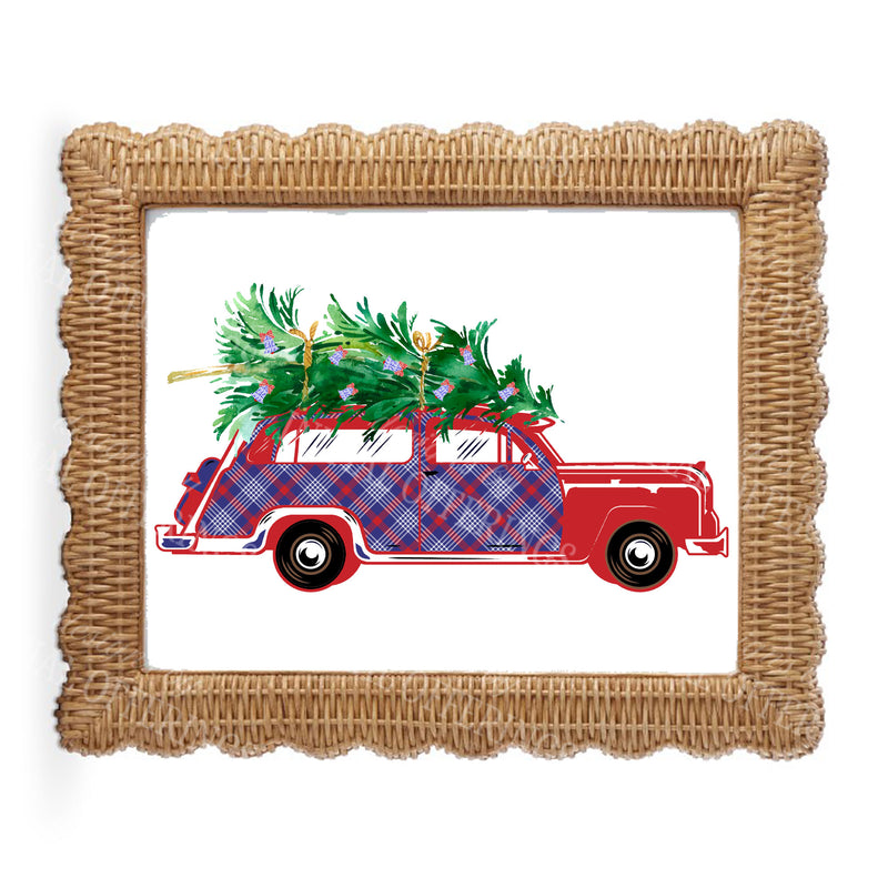 Red and Blue Plaid Woody Wagon Wall Art