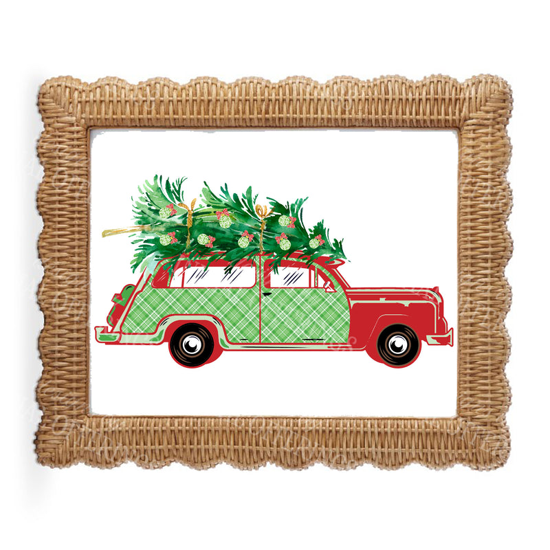 Red and Green Plaid Woody Wagon Wall Art