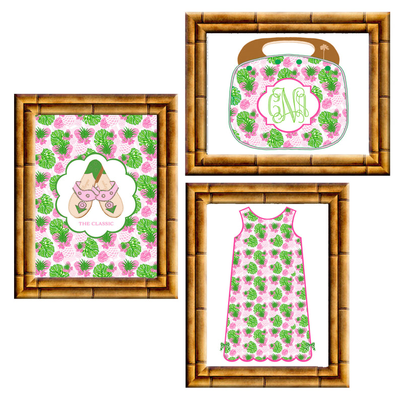 Pink Pineapple Print Collection | Gallery Wall Set of 3 Art Prints
