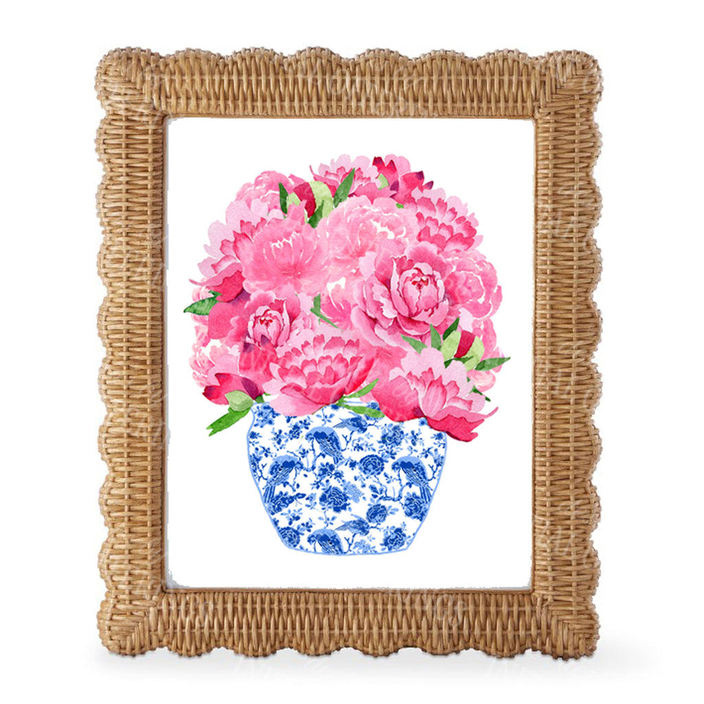 Bouquet Pink Peonies in Blue Planter Wall Art