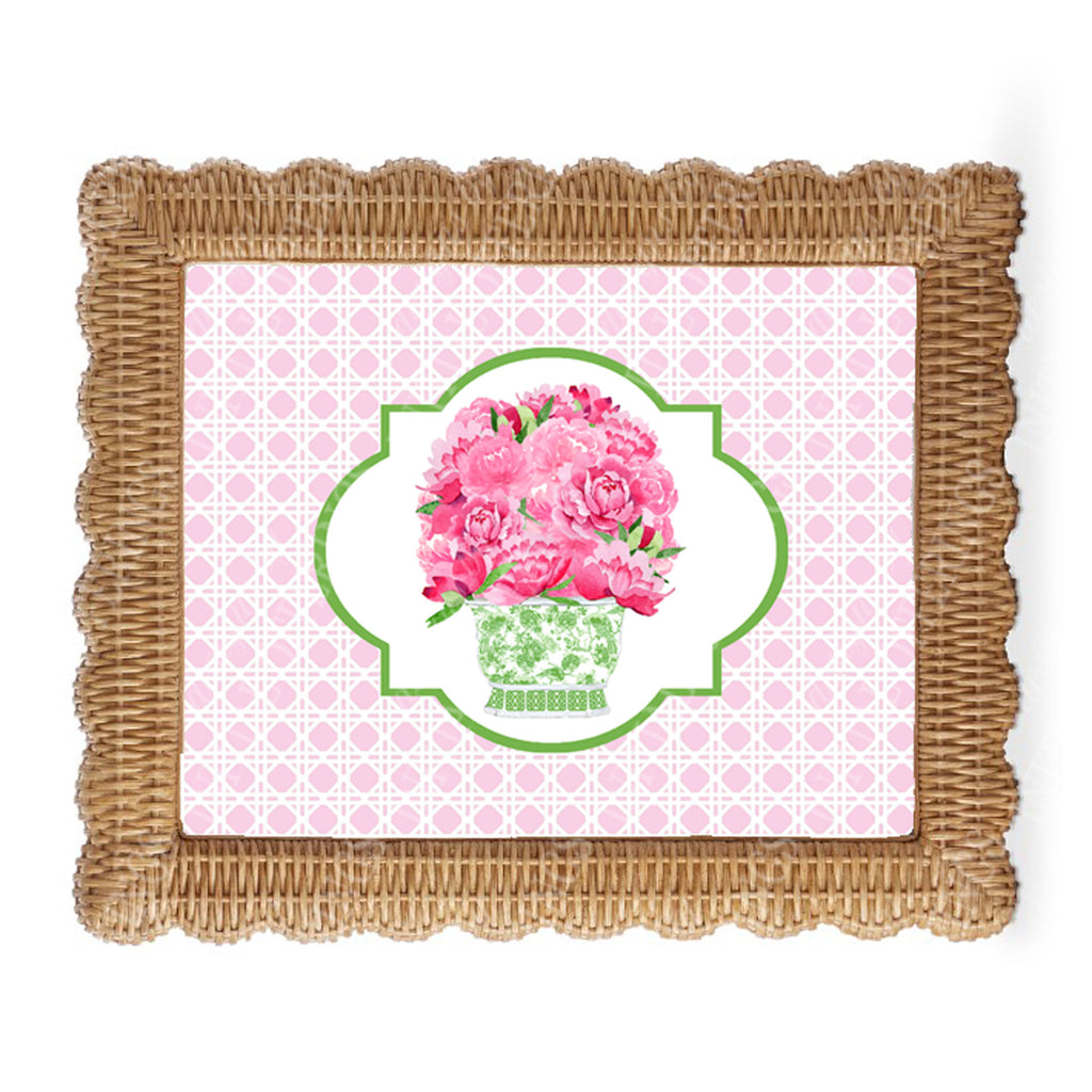 Bouquet Pink Peonies in Green Planter Wicker Border Wall Art
