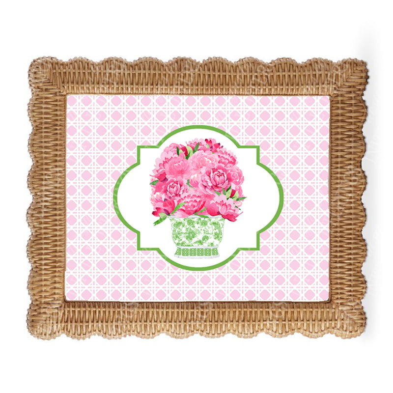 Bouquet Pink Peonies Wicker Border Wall Art