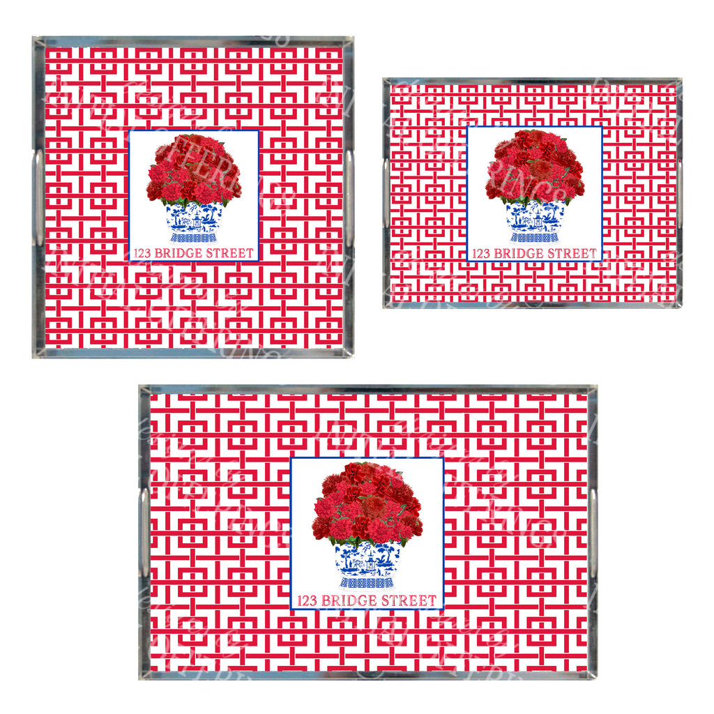 Red Bouquet Acrylic Tray in 3 Sizes