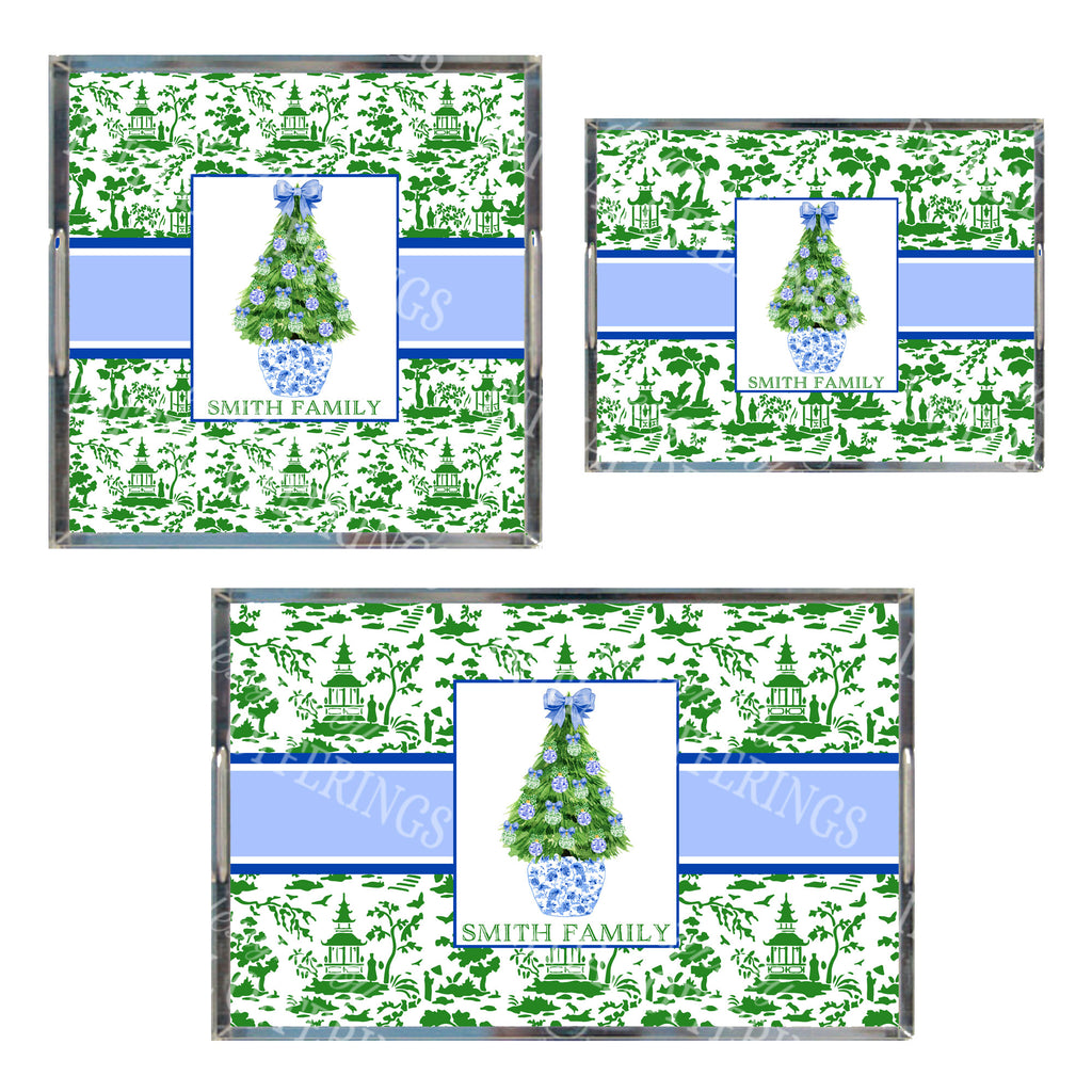 Blue and Green Christmas Tree Acrylic Tray in 3 Sizes
