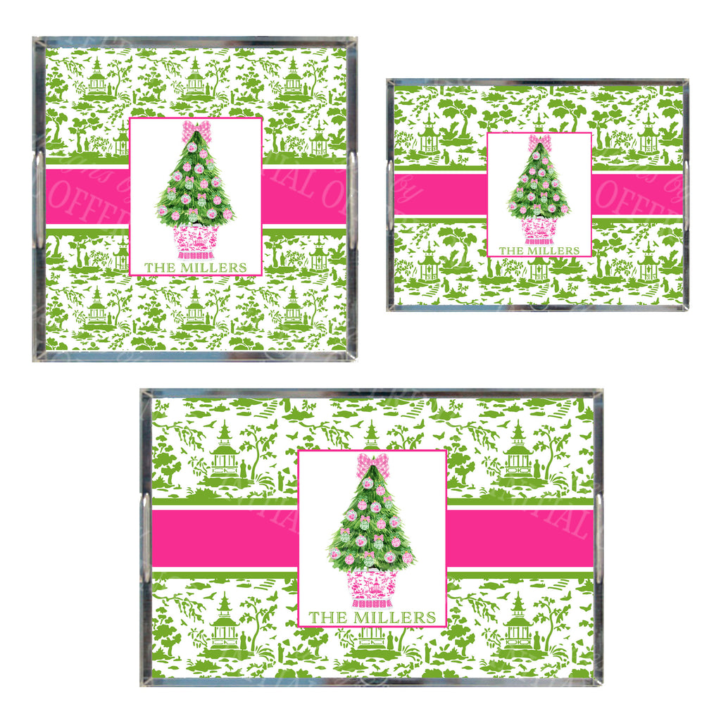 Pink and Green Christmas Tree Acrylic Tray in 3 Sizes