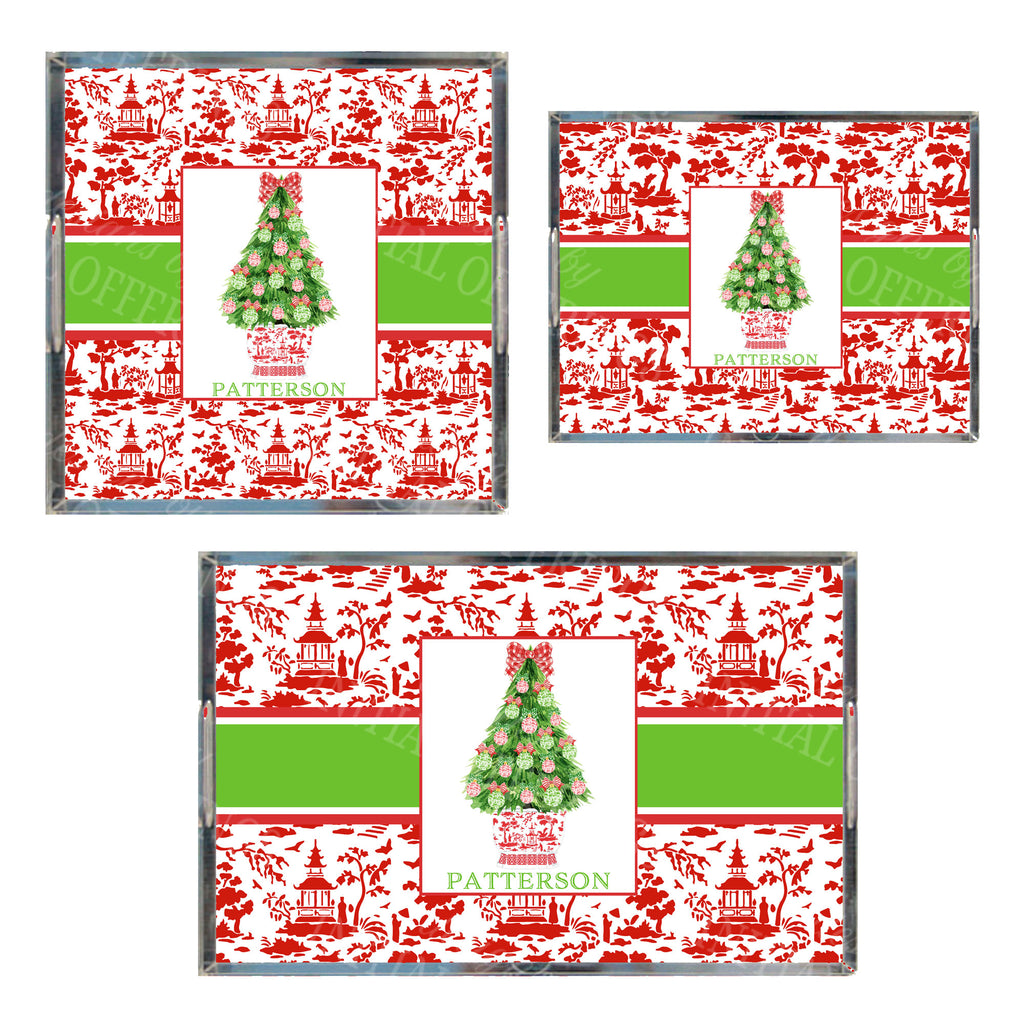 Red and Green Christmas Tree Acrylic Tray in 3 Sizes