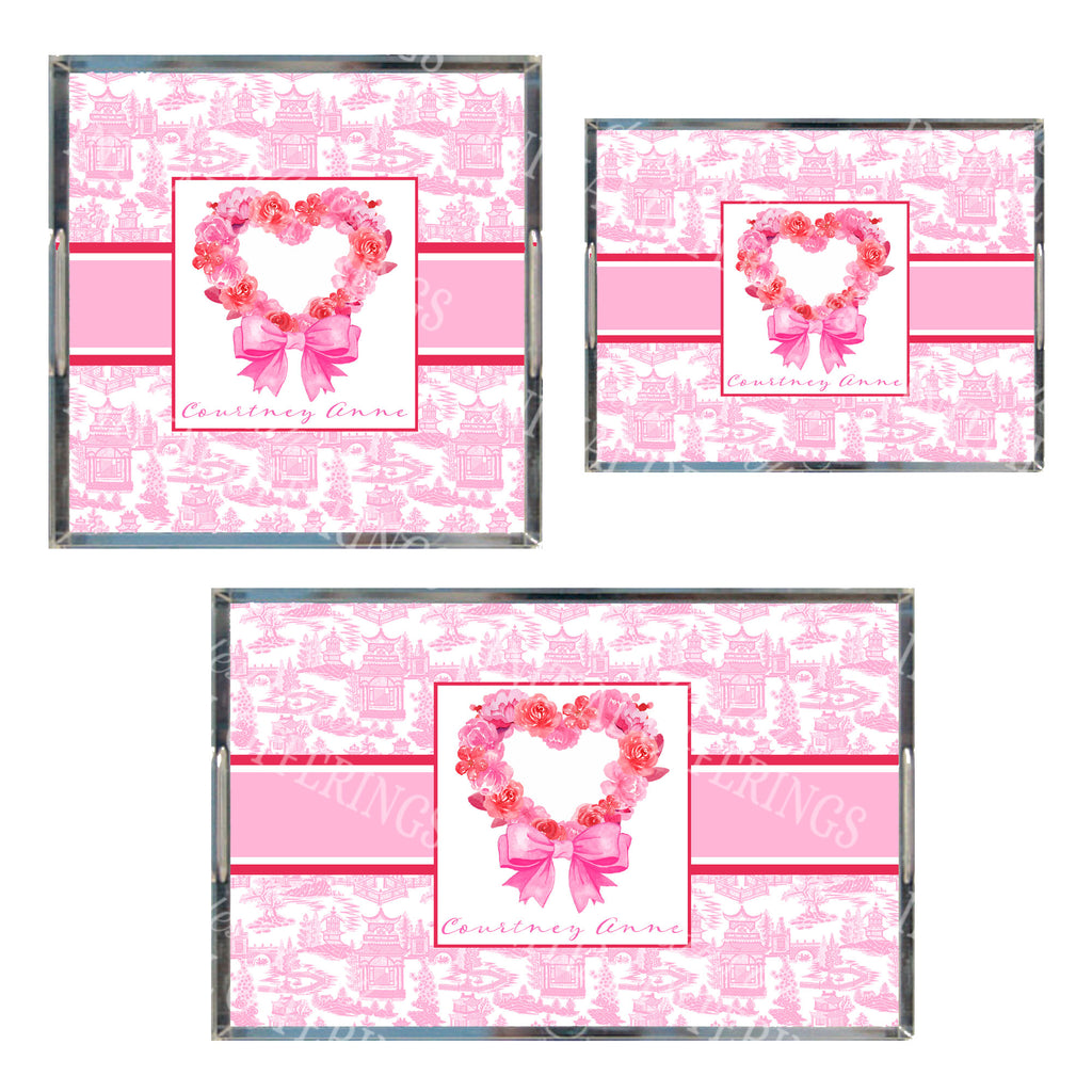 Pink Floral Heart Acrylic Tray in 3 Sizes