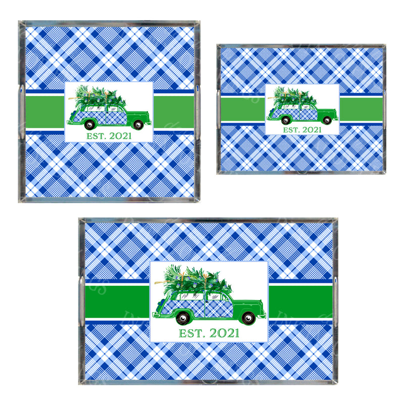 Blue and White Plaid Woody Wagon Acrylic Tray in 3 Sizes