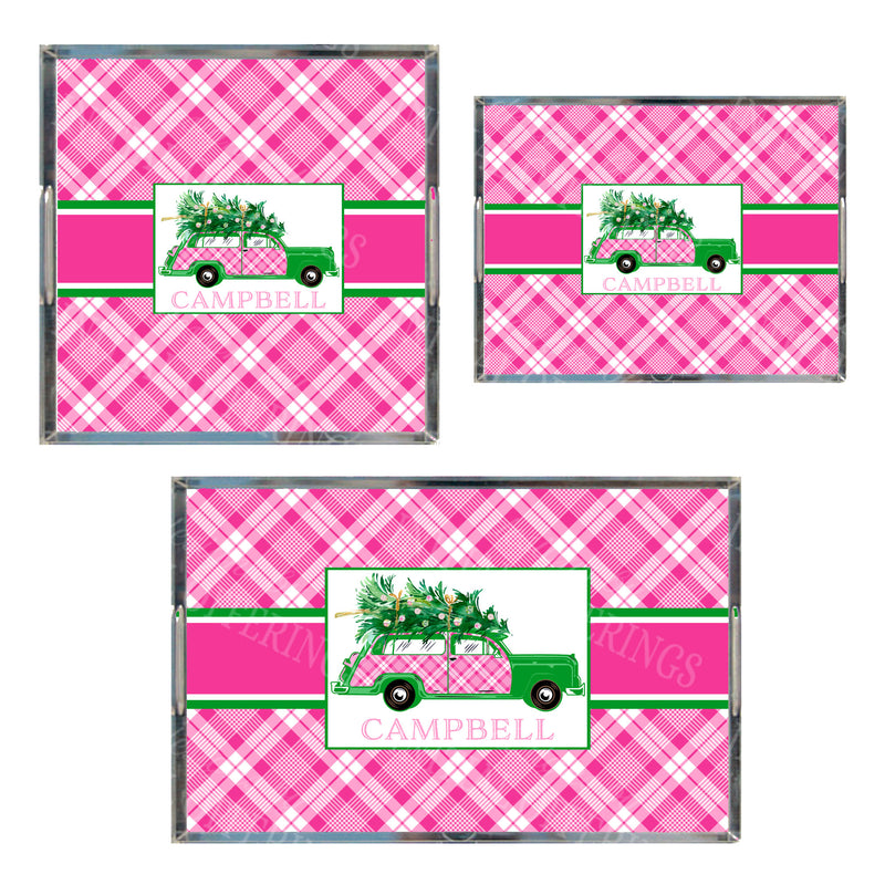 Pink and White Plaid Woody Wagon Acrylic Tray in 3 Sizes