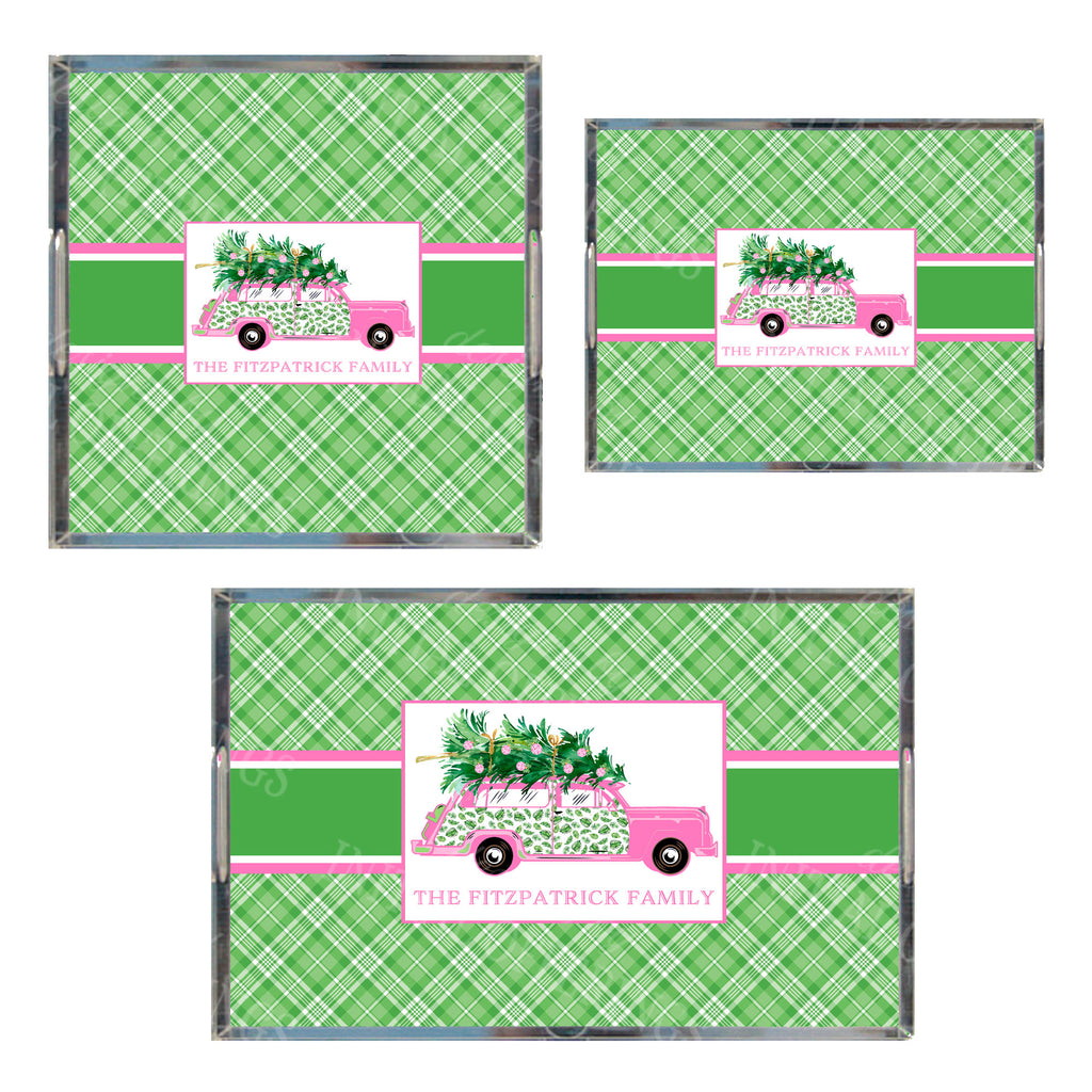 Pink and Green Palm Print Woody Wagon Acrylic Tray in 3 Sizes